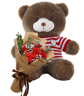 Combo Gift of Teddy (60cm) and Roses